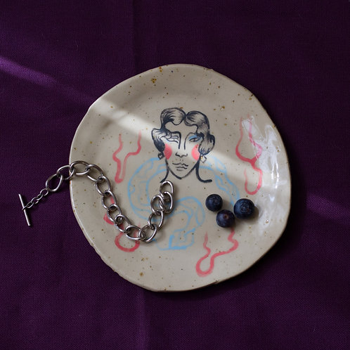 """""""Frau mit Schlange """" ceramic plate"""