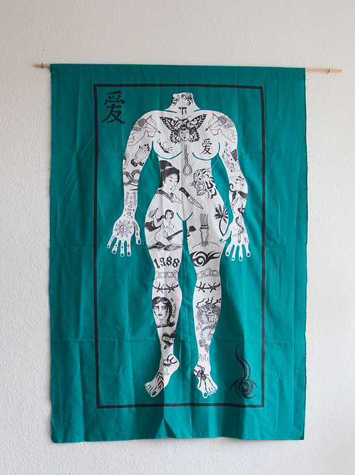 Screen print tattooed lady (front) 100x150cm