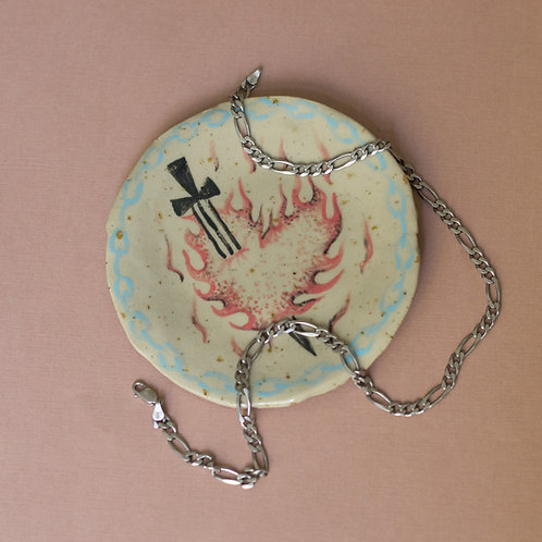 """fire walk with me"" ceramic plate"