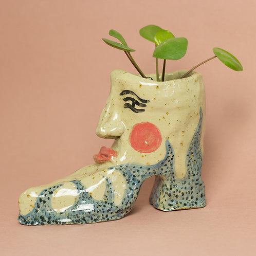 Flame Boot pot - pottery artwork