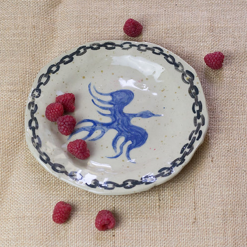 """""""french bird in french prison"""" - ceramic plate"""