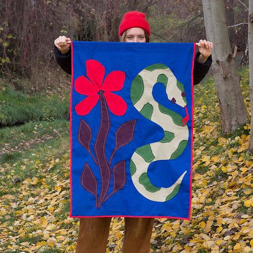 FLOWER&SNAKE original textile collage