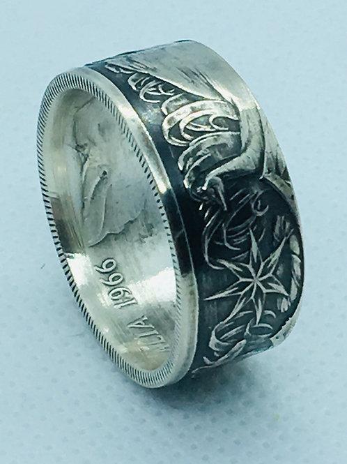1966 Australian Sterling 50 Cent Coin Ring