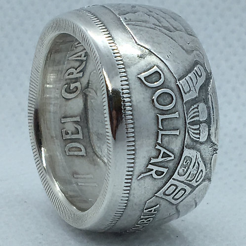 Totem Pole Silver Dollar Coin Ring
