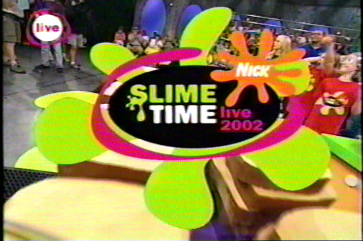 """A screenshot of the """"Slime Time Live"""" logo from 2002 taken from a VHS recording."""