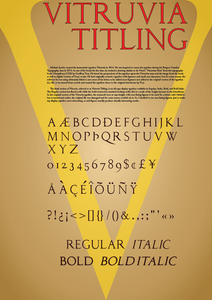 Typeface for Vitruvia Titling (2016), inspired by the Vitruvian Man by da Vinci and Champfleury by Geoffroy Tory.
