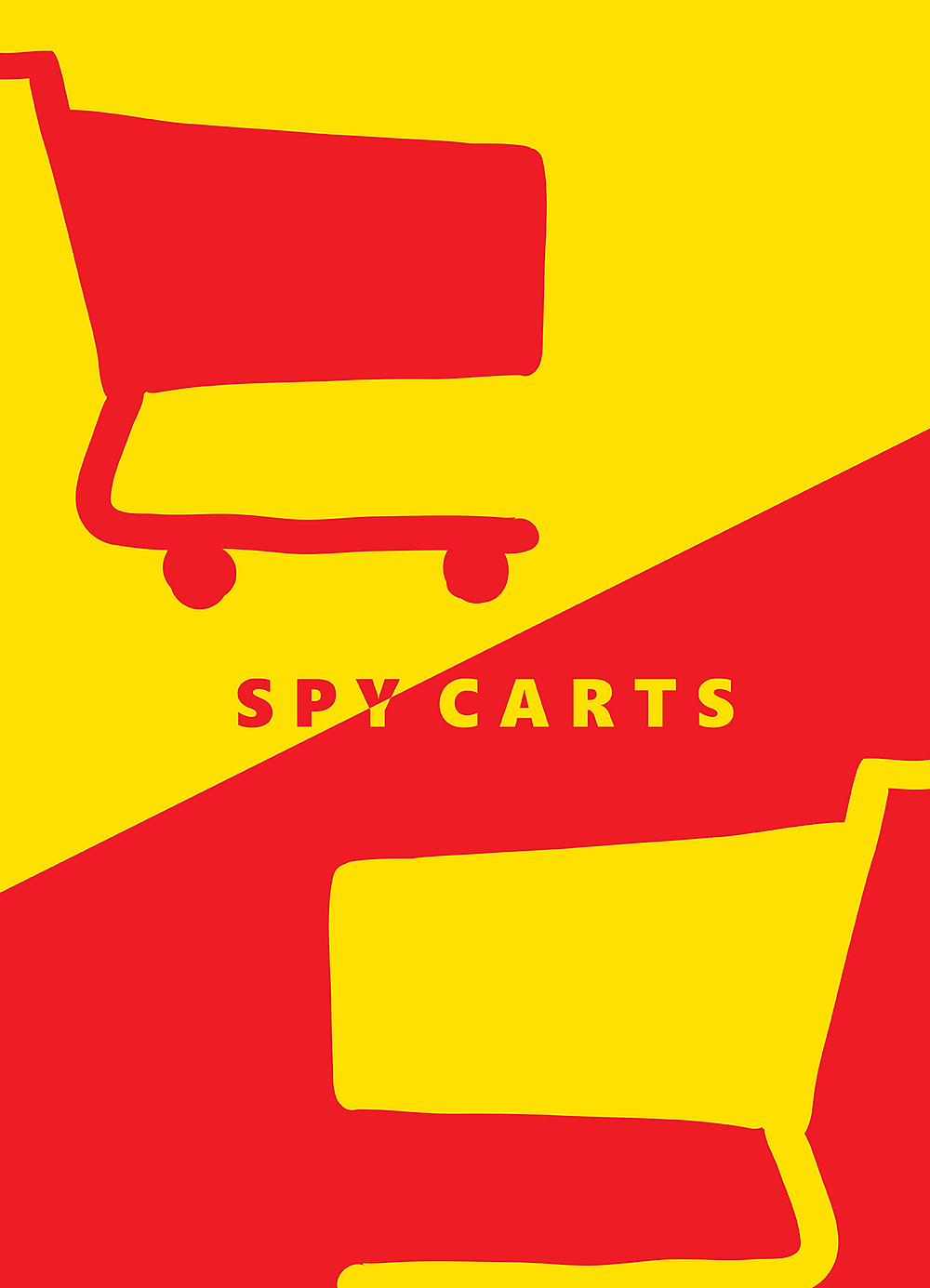"The main image for Americus Video #8: ""Spy Carts,"" featuring two carts—a red one against a yellow background and a yellow one against a red background."