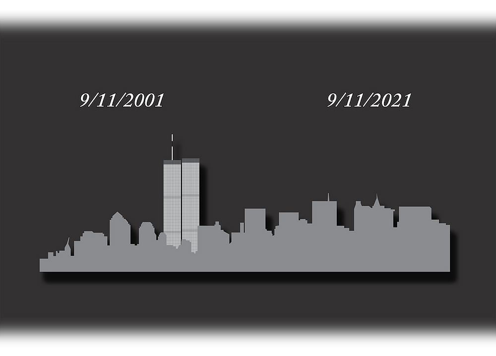 """A grave design commemorating the 20th anniversary of the September 11 attacks and a blog entry about the subject matter. Against a dark gray background is the gray silhouette of Manhattan Island with the detailed Twin Towers in the background—all below two dates reading """"9/11/2001"""" and """"9/11/2021."""""""