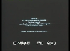 """The bottom bit of Japanese characters reads, """"Japanese subtitles: Natsuko Toda."""" From the end of the Japanese laserdisc for """"Brazil"""" (1985) by Terry Gilliam."""