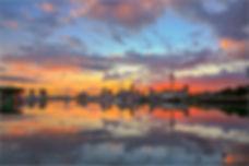Auckland City Skyline Sunset