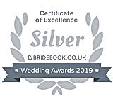 Badge - Bridebook Wedding Awards 2019, Silver Badge Of Ecellence Winner www.russellprodj.com
