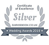 Badge - Bridebook Wedding Awards 2019, Silver Badge Of Ecellence Winner www.russellprodj.com