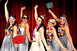 Bride & Bridesmaids, Red Curtain Photo Booth www.russellprodj.com
