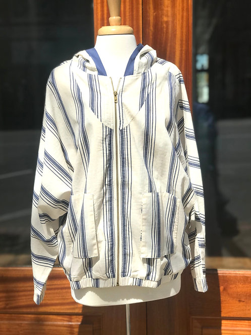Light Striped Cotton Jacket with hood