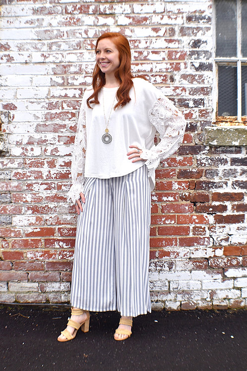 Bleu and White striped Palazzo Pants