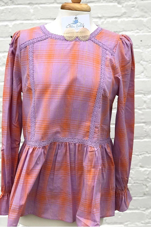 Orange Purple Plaid Blouse