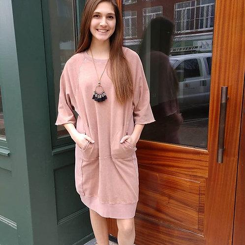 Washed Blush Sweatshirt Dress
