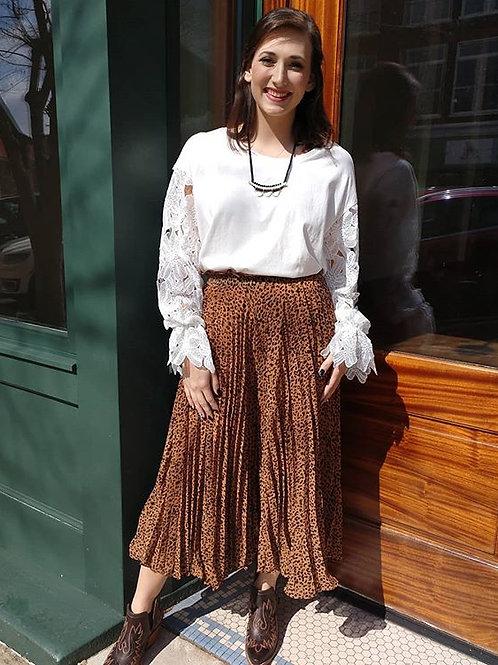 Cheetah Pleated (skirt look) Pants