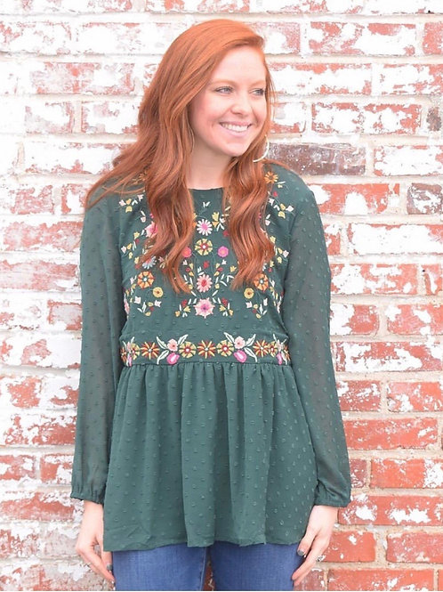 Green Dotted Embroidered Blouse