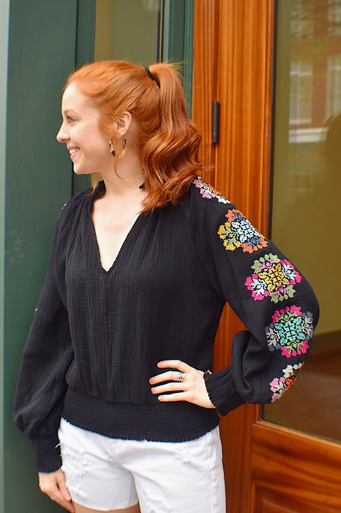Black Embroidered Sleeve Top