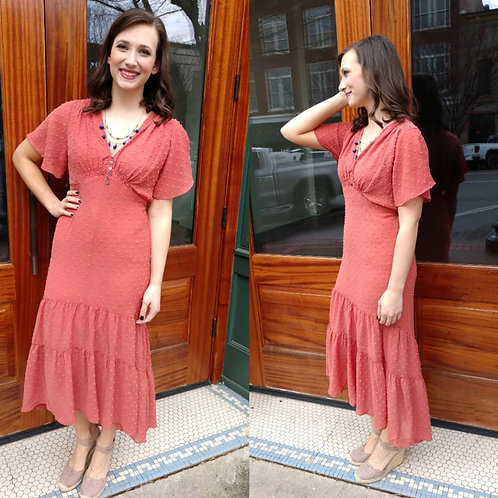 Hi-Low Dotted Coral Dress