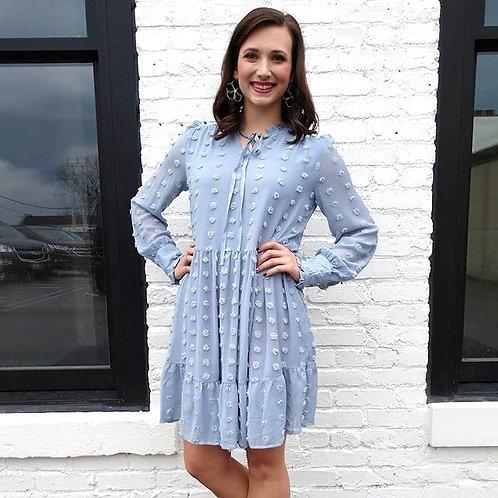 Bleu Chiffon Dot Dress