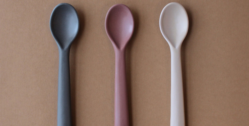 Bamboo Toddler Spoon 3 pack, Fog/Beet/Ocean