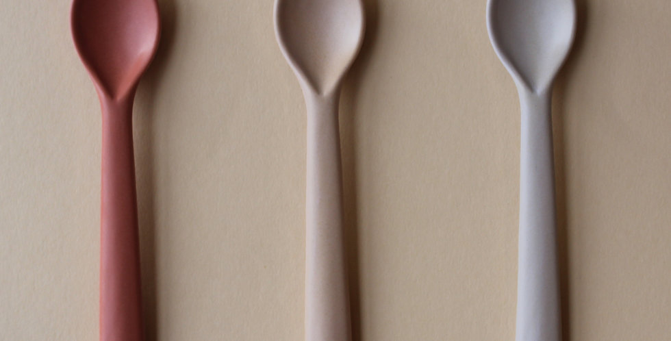 Bamboo Toddler Spoon 3 pack, Fog/Rye/Brick
