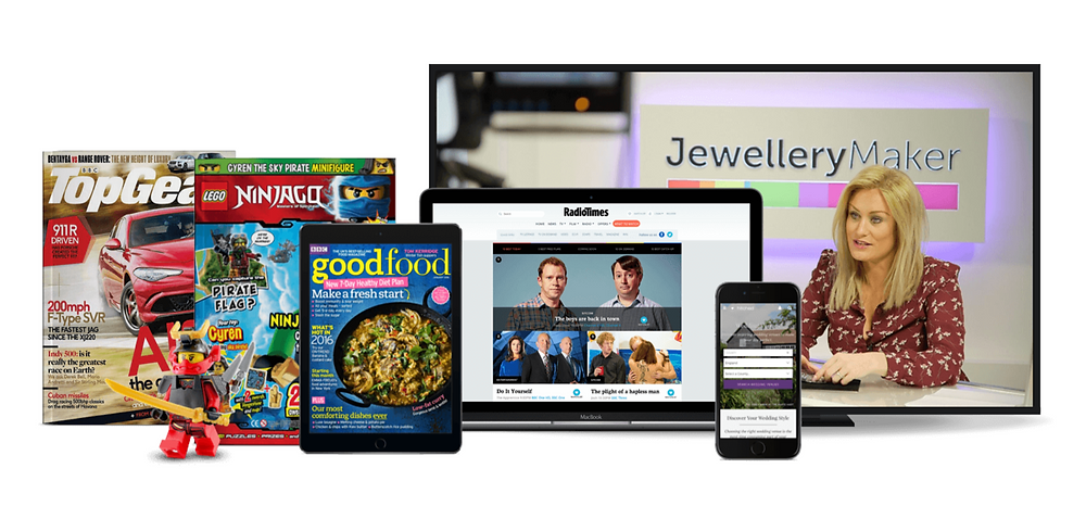 A selection of magazine covers showing titles including Top Gear, Lego and BBC Goodfood Magazine. Accompanied with a phone, laptop and TV screen mock-ups displaying the Jewellery Maker branding.
