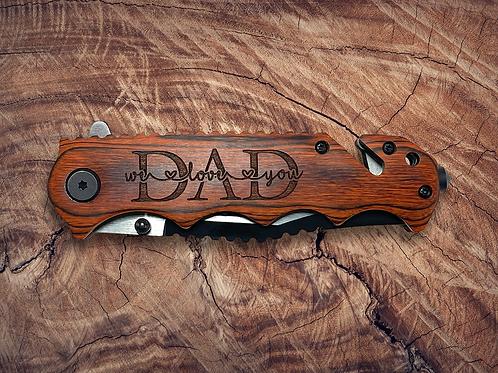 Custom Engraved Vintage Wooden Handle Pocket Knife
