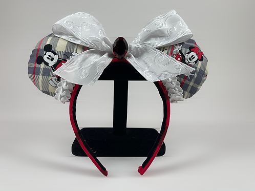 Hand-Crafted Mickey and Minnie Themed Mouse Ears Headband
