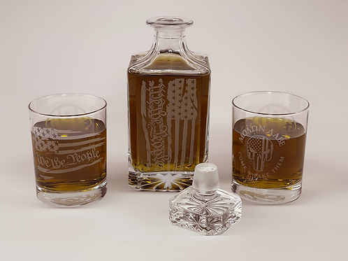 """Engraved """"We The People"""" Whiskey Decanter and Rocks Glass Set"""