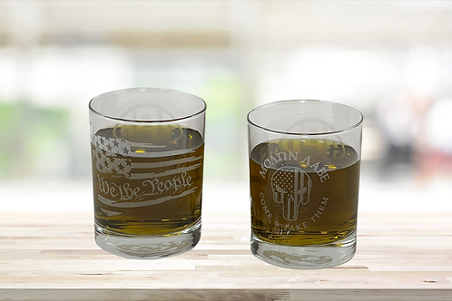 """Engraved """"We The People"""" Whiskey Rocks Glass Set"""