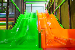 Green and orange slides