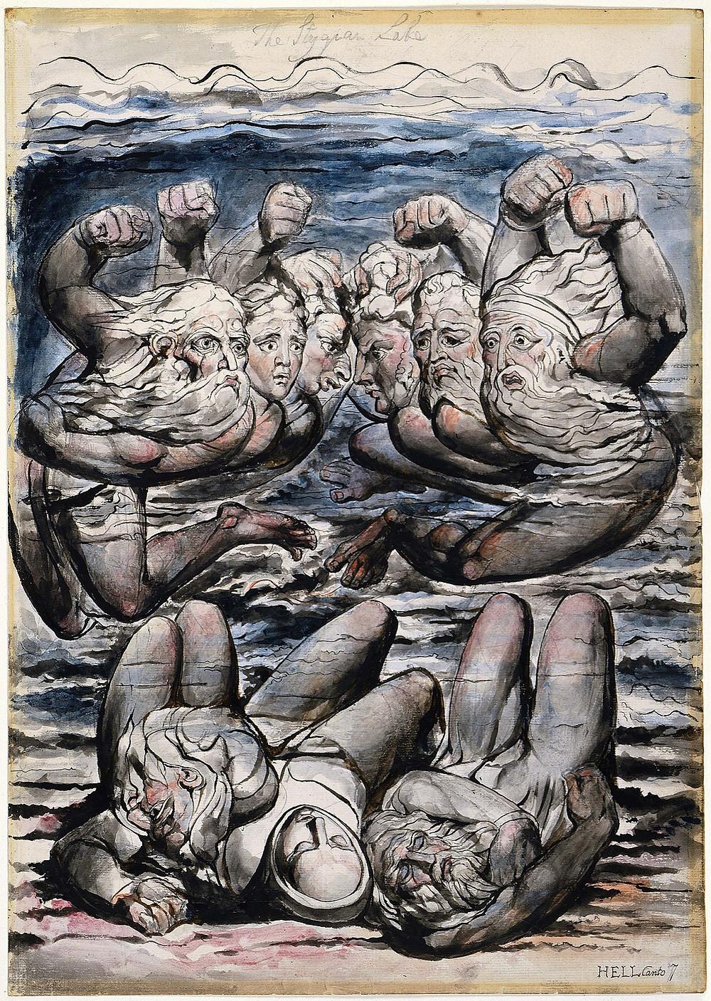 Styx Nehri'nde Öfkeli Günahkarların Dövüşü (İlahi Komedya-Cehhenem/Kanto 3), William Blake