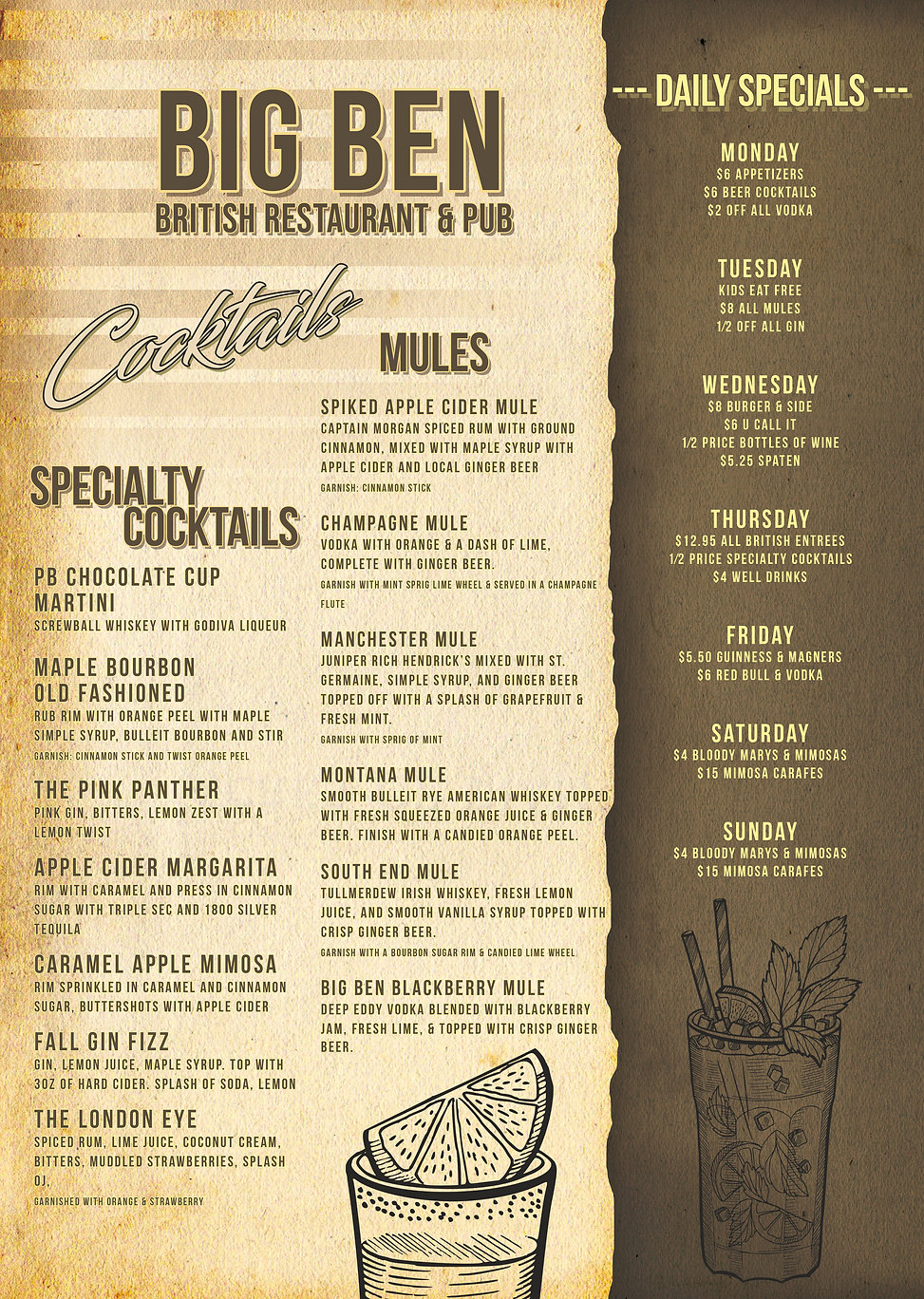 __Big Ben Cocktail Menu Nov 2020 Front S