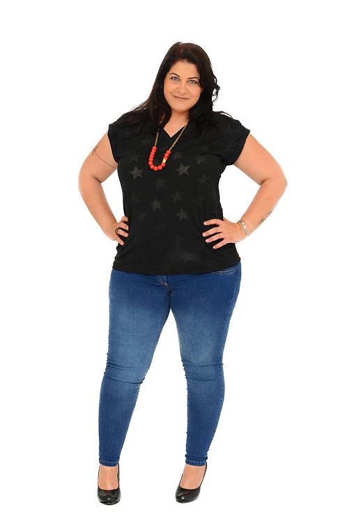חולצת רותי שחור כוכבים (רשת)