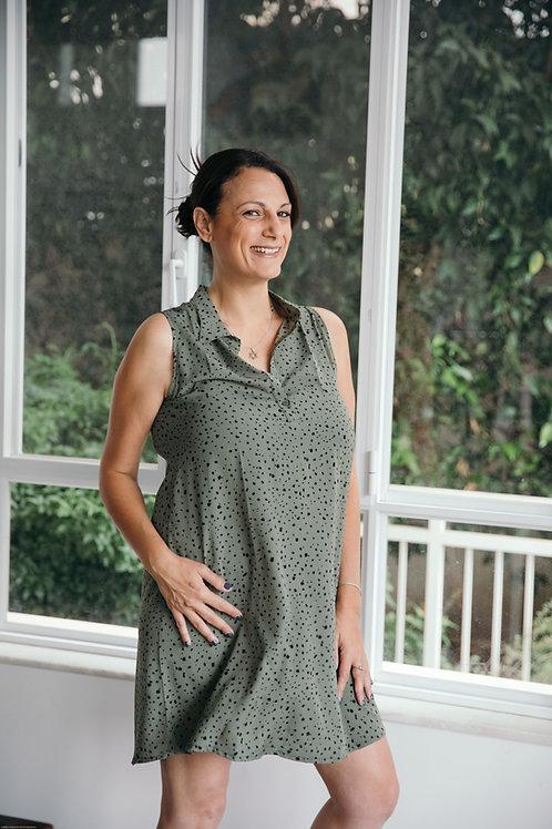 שמלת כפתורים ירוק חאקי הדפס שחור