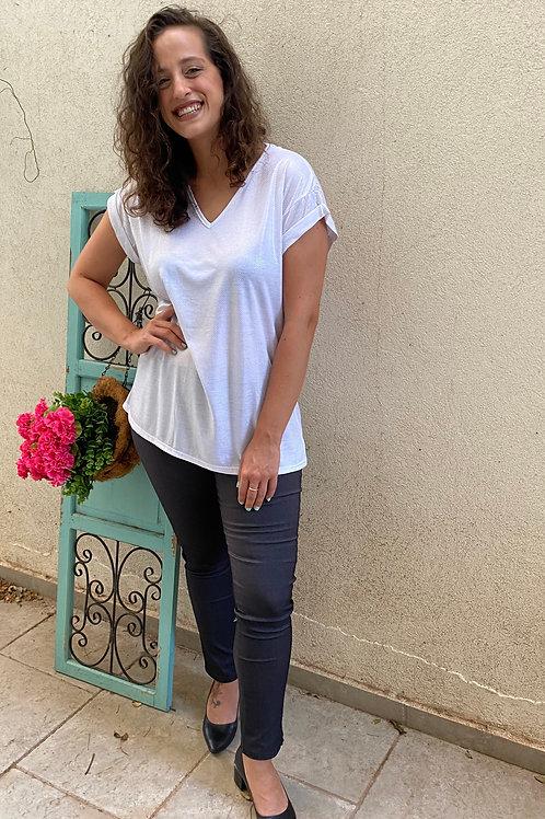 חולצת רותי לבן מבריק