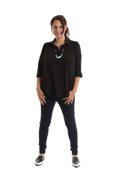חולצת כפתור בשרוול שחור
