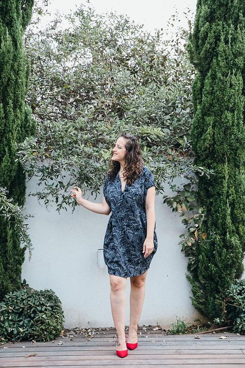 שמלת שרוך שחור לבן הדפס