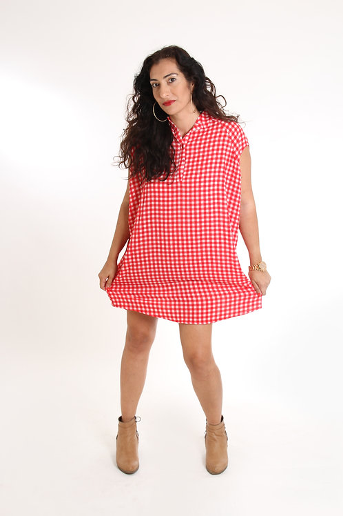 שמלת עלמה אדום משבצות