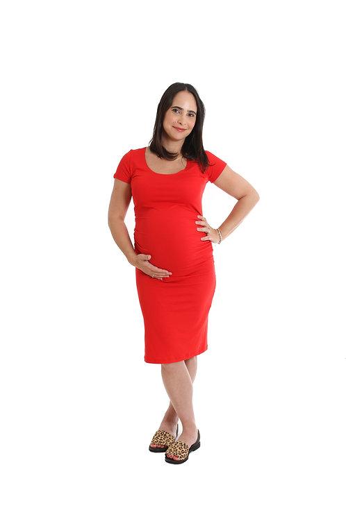 שמלת בייסיק הריון אדום