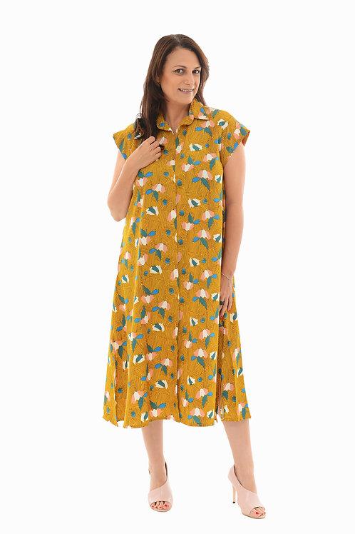 שמלת אמלי חרדל הדפס