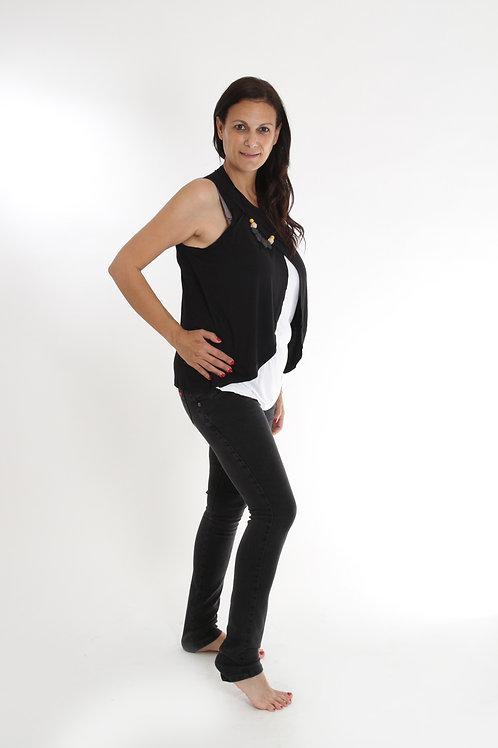 ג'ינס הריון שחור משופשף