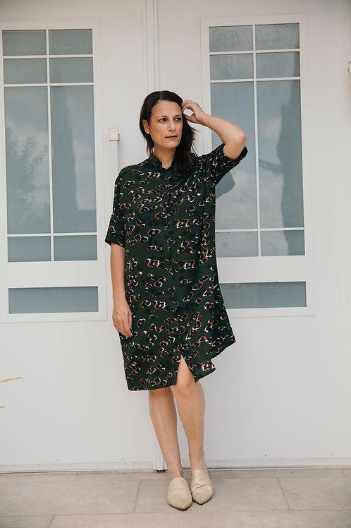 שמלת עדינה ירוק הדפס