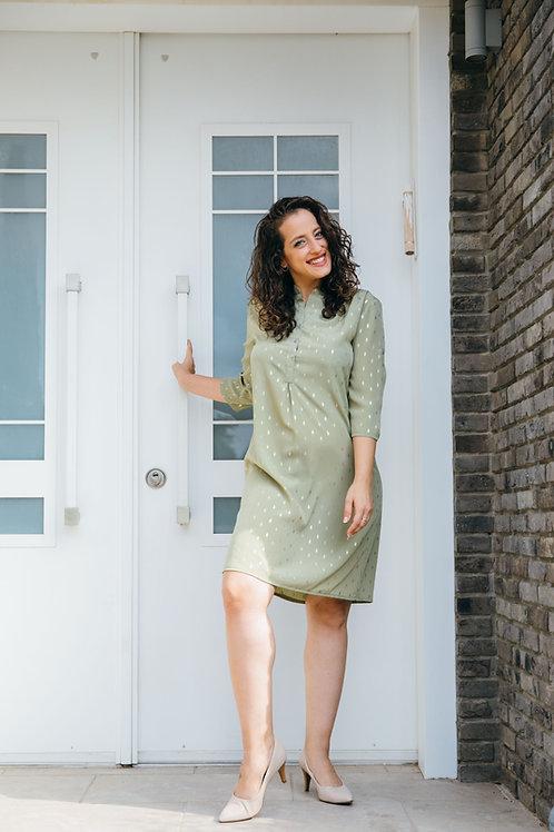 שמלת נועה ירוק זית עלה זהב
