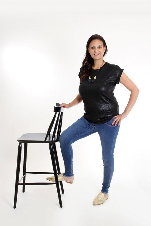 חולצת שניר שחור מבריק