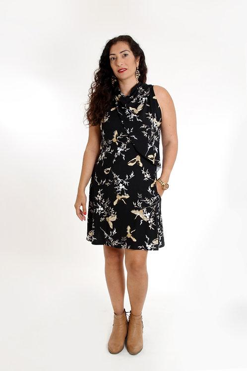 שמלת מיטל שחור הדפס