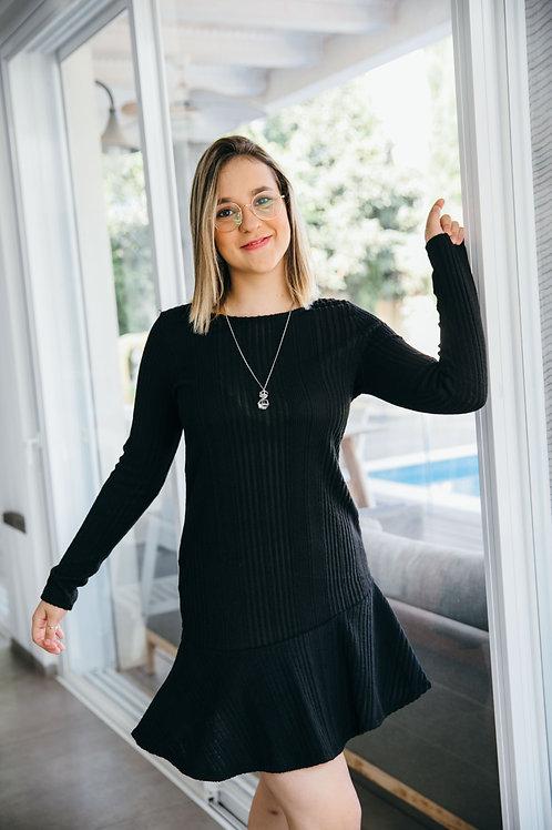 שמלת סריג ניקי שחור Y